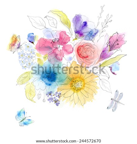 Floral watercolor sketch - stock photo