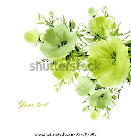 Floral watercolor spring flowers-3. Beautiful floral background of watercolor sketches for the design and decoration.  - stock photo