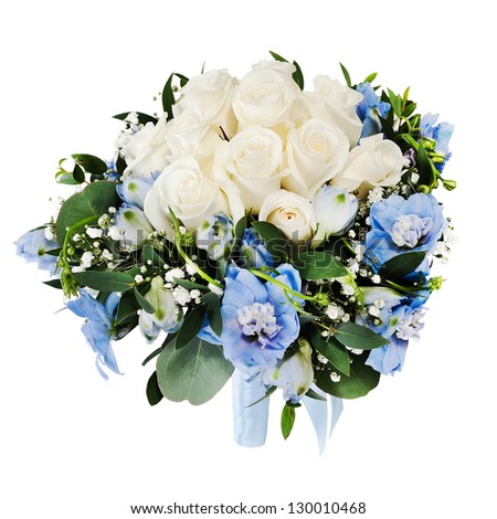 Floral wedding bouquet from white roses and delphinium isolated on white background. - stock photo