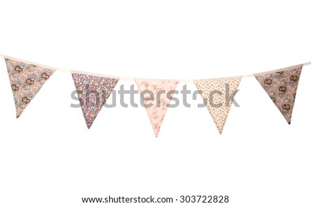 floral wedding bunting studio cutout - stock photo
