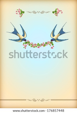 Floral wedding party card with flowers, birds. Free flying swallows with flower garland, decorative ornament, realistic spring bouquets of flowers. Romantic flyer in retro style - stock photo