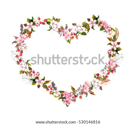 Floral wreath heart shape pink flowers stock illustration 530146816 floral wreath heart shape pink flowers boho feathers watercolor for valentine day mightylinksfo