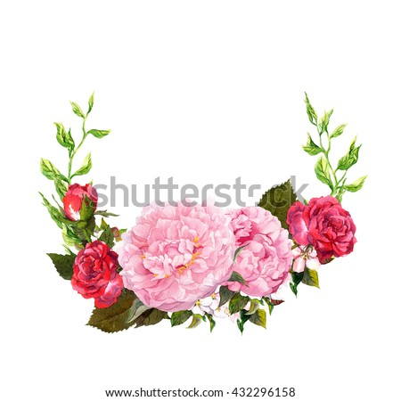Floral wreath with pink peony flowers. Save date card for wedding. Watercolor - stock photo