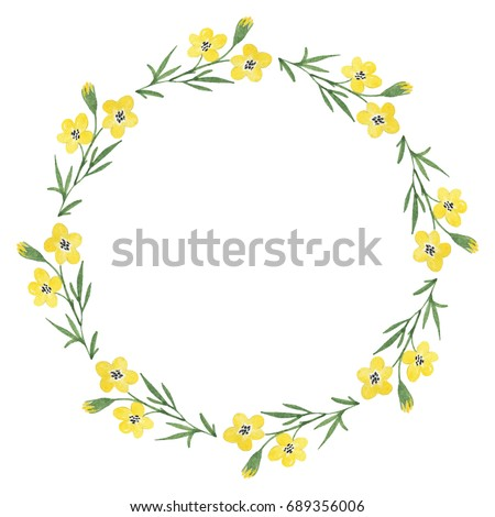Floral wreath yellow flowers watercolor hand stock illustration floral wreath with yellow flowers watercolor hand drawn mightylinksfo
