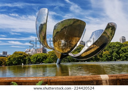 Floralis Generica sculpture made of steel and aluminum located in Argentina capital city Buenos Aires - stock photo