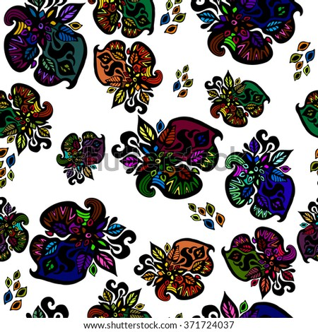 florals painted in watercolor style and Doodle. The background is a seamless texture