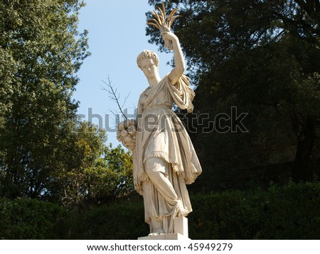 Florence - ancient sculpture in the gardens of Boboli - stock photo