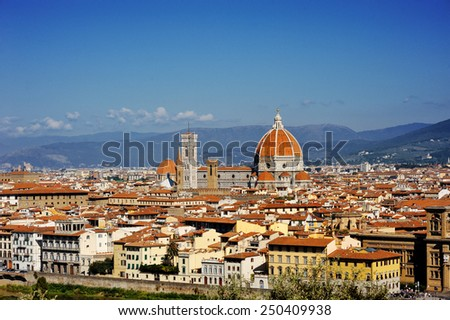 Florence and Basilica Saint Mary of the Flower panoramic view, Tuscany, Italy - stock photo