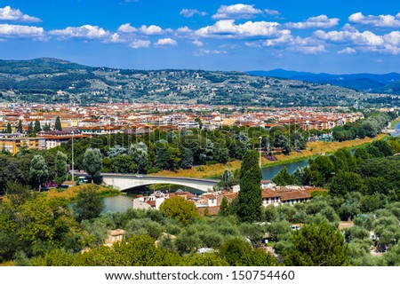 Florence and Tuscany landscape, Italy - stock photo