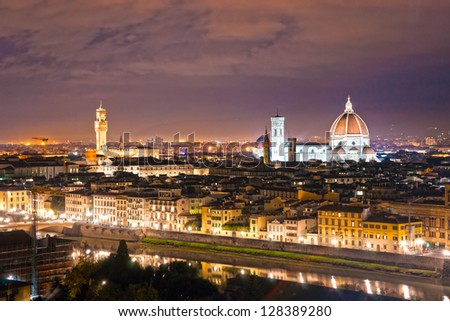 Florence at night, Italy. - stock photo