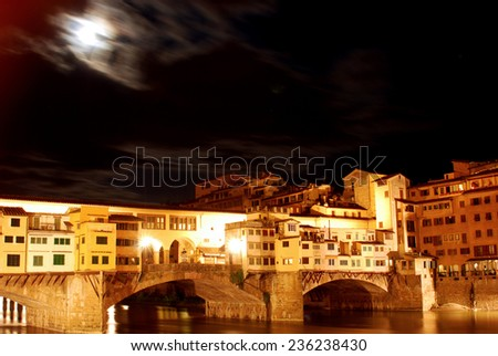 Florence by night - Tuscany - Italy - stock photo