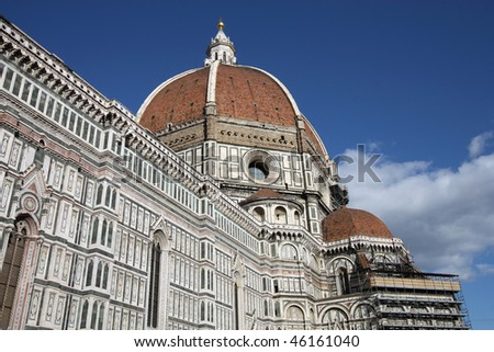 Florence cathedral dome view. Architecture in Italy. UNESCO World Heritage Site.