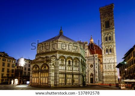Florence Cathedral (Duomo - Basilica di Santa Maria del Fiore) in the Morning, Tuscany, Italy - stock photo