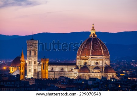 Florence, Cathedral of Santa Maria del Fiore on a sunset - stock photo