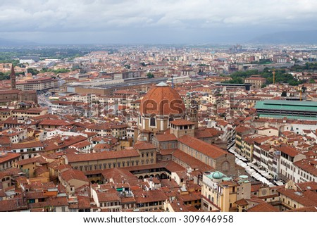Florence city view, Italy, Europe. Panorama of Florence and Saint Mary of the Flower. - stock photo
