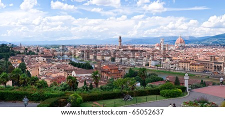Florence cityscape and skyline with cloudscape background, Michelangelo park in foreground, Tuscany, Italy. - stock photo