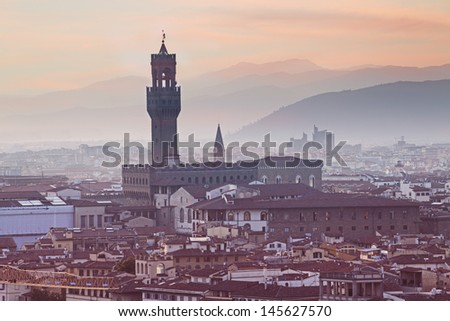 Florence cityscape at sunrise from Michelangelo Hill, Italy