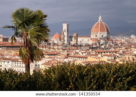 Florence cityscape on a windy day - stock photo