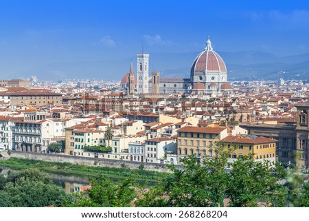 Florence, Duomo Cathedral, Basilica Santa Maria del Fiore and Giotto Campanile Panorama view from Michelangelo park square. Italy, Europe - stock photo