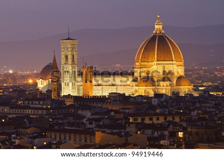 Florence Duomo light up at night - stock photo