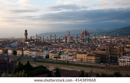 Florence evening view in Autumn, Italy