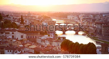 Florence (Firenze) Italy city view, in the evening with pink and blue skyline  - stock photo