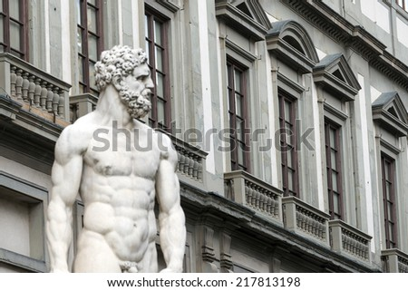 Florence (Firenze, Tuscany, Italy): historic buildings in Piazza della Signoria and statue - stock photo