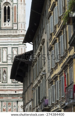 Florence (Firenze, Tuscany, Italy): the medieval cathedral with the Brunelleschi's dome and the Giotto's belfry
