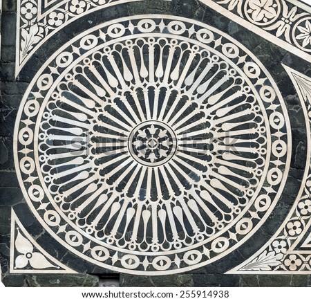 Florence (Firenze, Tuscany, Italy): the medieval church of Santa Maria Novella, facade detail - stock photo