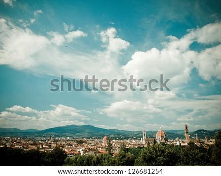 Florence, from Boboli Gardens - stock photo