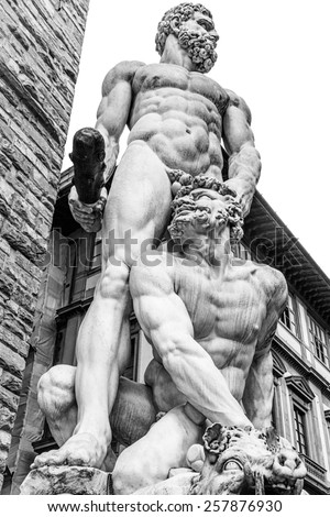 Florence Hercules and Cacus sculpture - stock photo