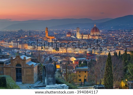 Florence. Image of Florence, Italy during twilight blue hour.