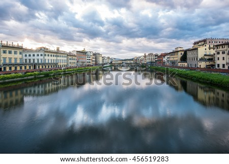 Florence in early morning April 2016. The river Arno is quite and calm.