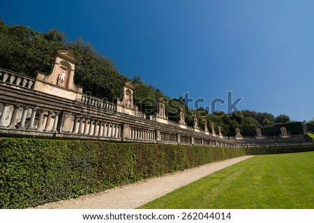 FLORENCE, ITALY - APRIL 14, 2013: Antique amphitheater in Boboli Gardens, Unesco World Heritage site, Florence, Italy.