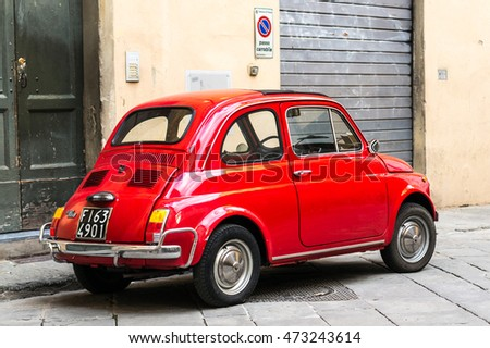 Florence, Italy - April 25, 2016. Rear view of vintage Fiat 500 L parked on the street