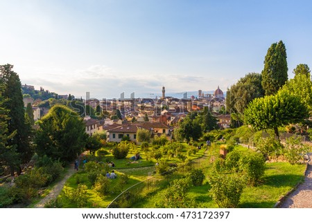 FLORENCE, ITALY - 22 AUGUST 2015 - A summer visit in the capital of art and Tuscany region. In this picture: cityscape from Piazzale Michelangelo