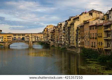 Florence, Italy, August 23 2015: Ponte Vecchio. Fantastic sunset over the river Arno in Florence