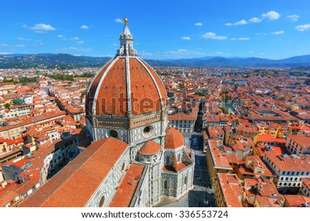 Florence, Italy. Cathedral of Saint Mary of the Flowers. Italian Cattedrale di Santa Maria del Fiore, Firenze  - stock photo