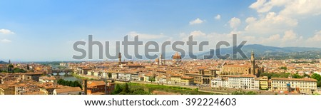 FLORENCE, ITALY - CIRCA JULY, 2015: Panoramic landscape of Florence city with Florence Cathedral in the Florence, Italy.