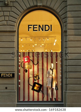 FLORENCE, ITALY - DEC 5: FENDI boutique in Florence on famous for luxury shopping Tornabuoni street on December, 5, 2013. Fendi is a multinational luxury goods brand owned by LVMH Moet Hennessy Louis Vuitton. - stock photo