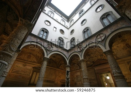 Florence, Italy, inside Palazzo Vecchio, the first courtyard