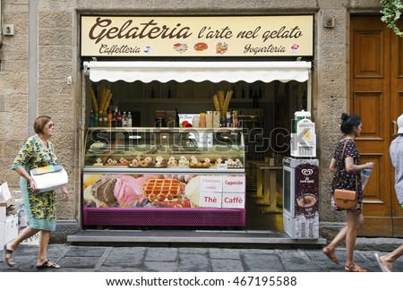 FLORENCE, ITALY - JULY 13, 2016: Street view of gelateria exterior - traditional Italian ice cream shop in Florence, Italy.