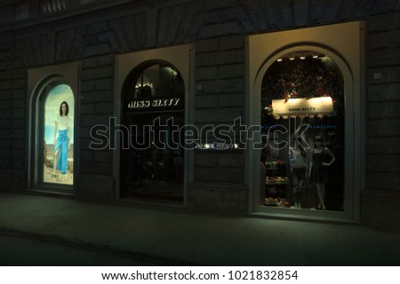 FLORENCE, ITALY - JUN 11: MIS SIXTY store in Florence, one of the most luxurious shopping district in the world, in Florence, italy, 11 june 2017