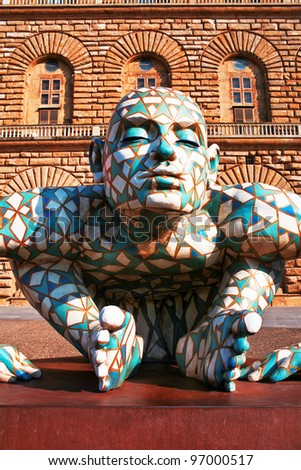 "FLORENCE, ITALY - JUNE 28: Abstract puzzling sculpture of man created by Italian sculptor Paola Epifani (more commonly known as Rabarama) on exhibition ""ANTICOnform"" on June 28, 2011 in Florence"