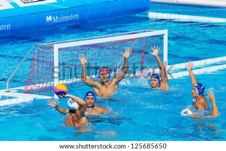 FLORENCE, ITALY - JUNE 26: Action of the Australian Team on June 26, 2011 in Florence, Italy. Match between Australia and Montenegro during the FINA Men's Water Polo World League Super Final
