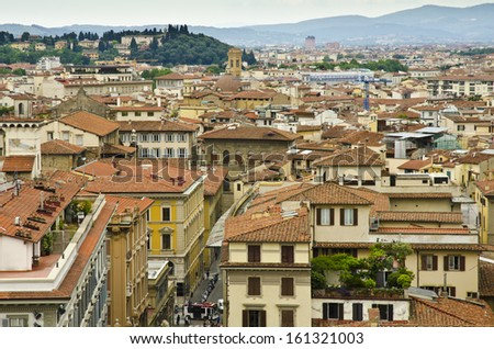 FLORENCE, ITALY - JUNE 6: aerial view of Florence from Giotto's Bell Tower on June 6, 2013 in Florence, Italy. Florence is the largest city in Tuscany and one of the most visited cities in Italy.