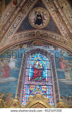 Florence, Italy-June 2, 2015. Architectural and decoration details of the cloisters of the Basilica of Santa Maria Novella, situated just across from the main railway station which shares its name.  - stock photo