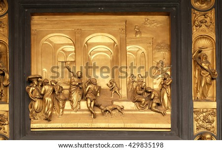 FLORENCE, ITALY - JUNE 05: Baptistry of Saint John, Gates of Paradise, Isaac with Esau and Jacob, Florence, Italy on June 05, 2015 - stock photo