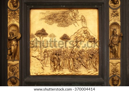 FLORENCE, ITALY - JUNE 05: Baptistry of Saint John, Gates of Paradise, Moses, Florence, Italy on June 05, 2015 - stock photo