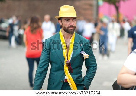 FLORENCE, ITALY-JUNE 15: Fashion people at Pitti Immagine of Uomo, Florence, Italy, June 15, 2017